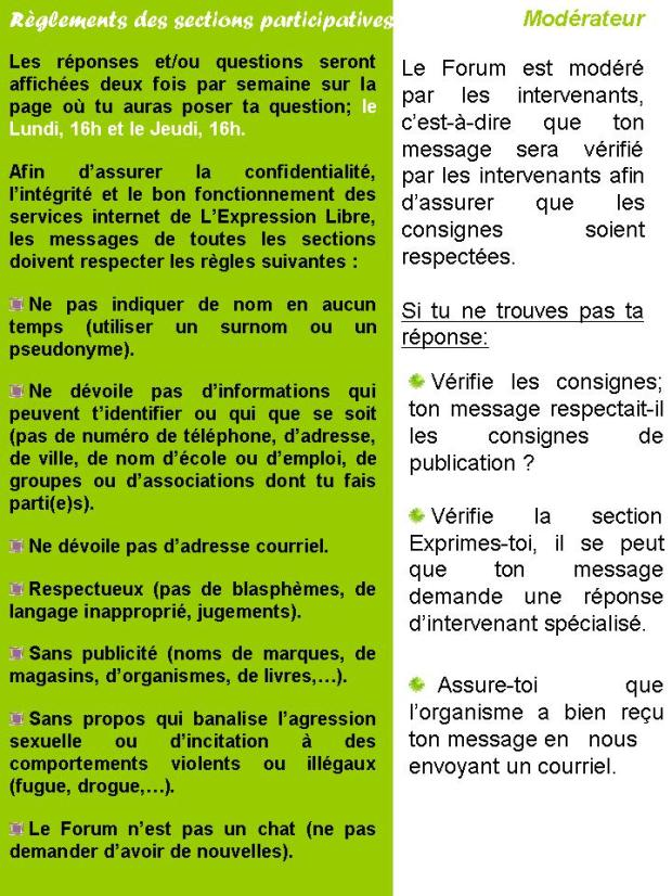 Règlements des sections participatives